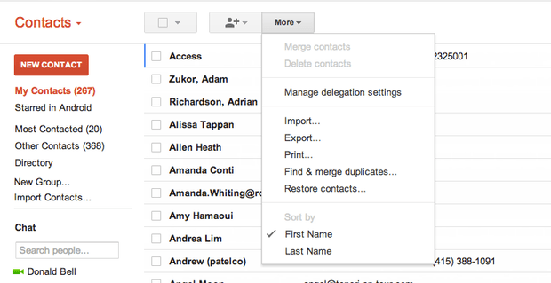 Gmail Delte Contact