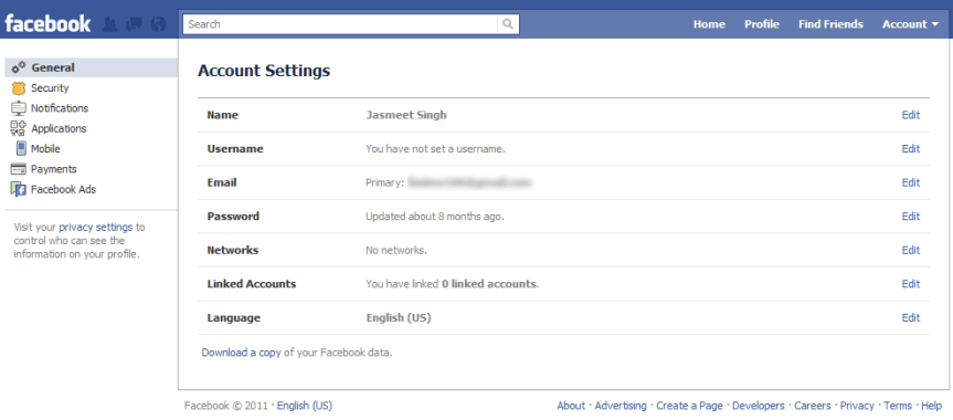 Facebook Account Settings _ General