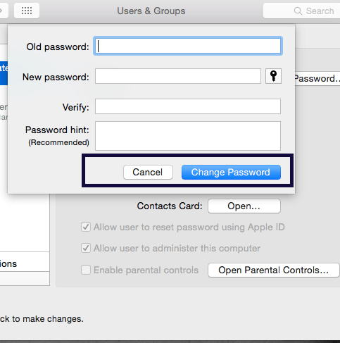 Change the Password of your MAC 4