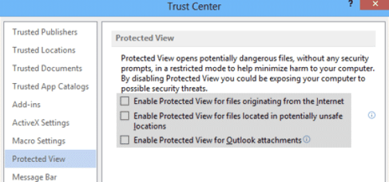 Disable Protected View in MS Excel and Word