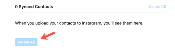 Delete Synced Contacts Instagram