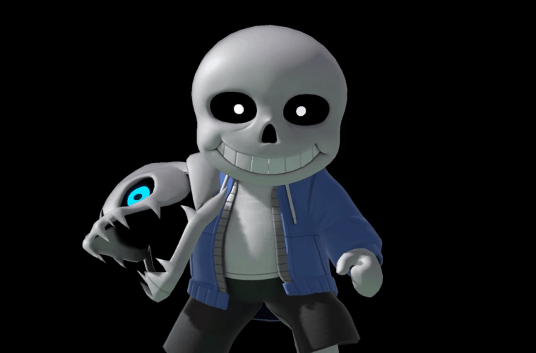 Sans in Smash Bros. Ultimate: New Mii Fighter skin, remix