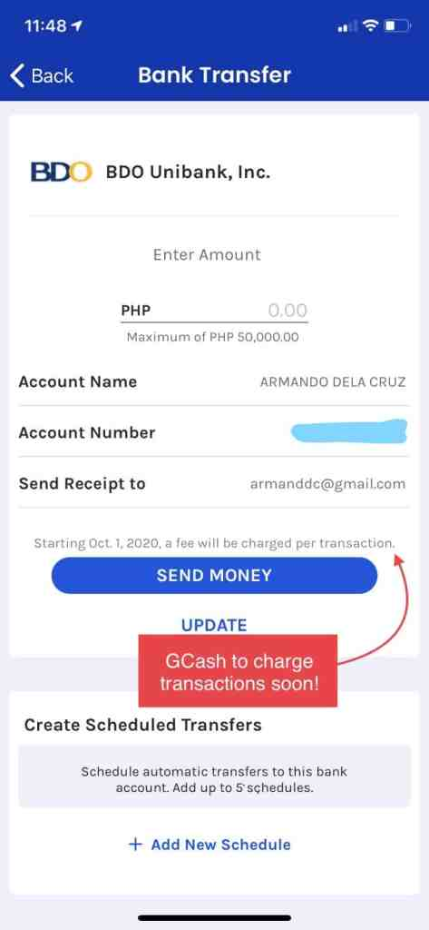 GCash to start charging fees for bank transactions starting October 1