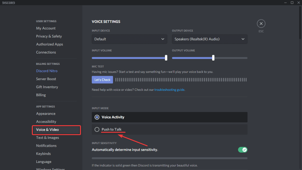 Here's how you can enable push to talk on Discord