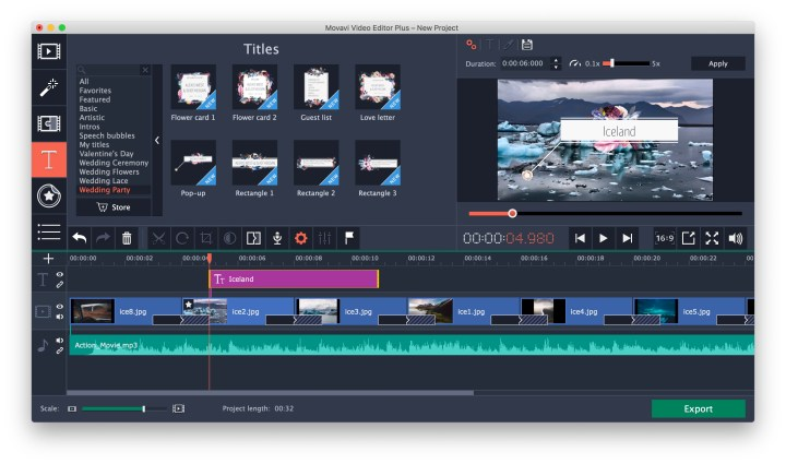 movavi video editor titles