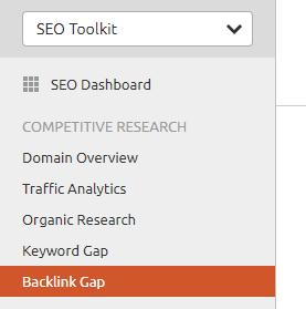 semrush backlink comparison