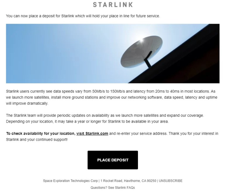 Starlink Email