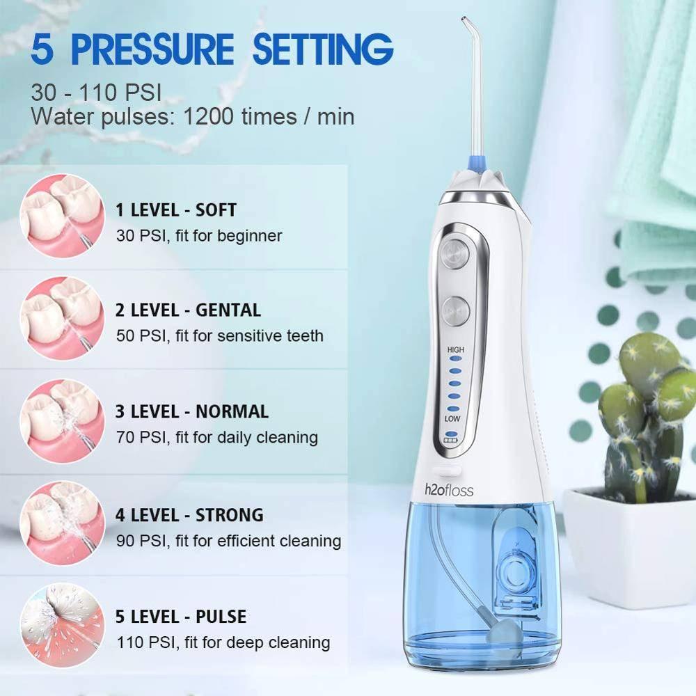 Cordless Water Floss – خيط الأسنان المائي 5 سرعات 6 فوهات خزان 300 ملي لون ابيض Water Flosser - خيط الأسنان المائي Smart Techs, Better Living