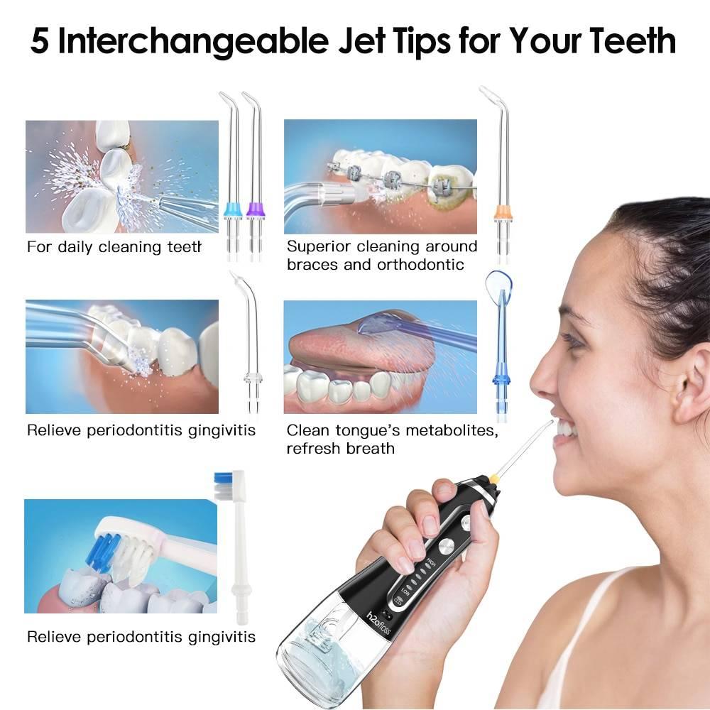 Cordless Water Floss – خيط الأسنان المائي 5 سرعات 6 فوهات خزان 300 ملي لون اسود Water Flosser - خيط الأسنان المائي Smart Techs, Better Living