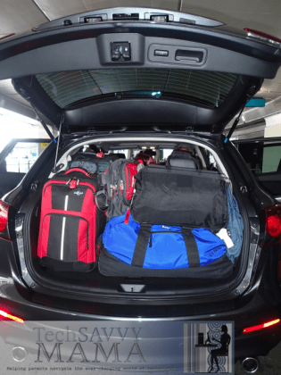Mazda CX-9 seats 7 and has trunk space for loads of luggage
