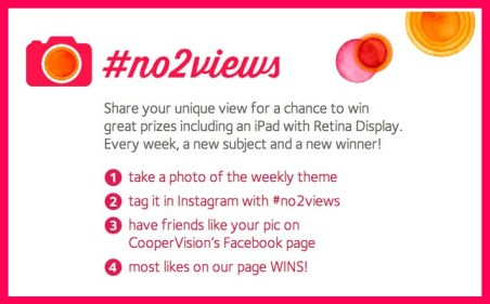 CooperVision #no2views contest information