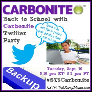 Back to School with Carbonite Twitter Party- Tues. Sept. 10 {sponsored}