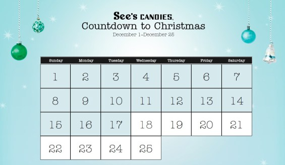 See's Countdown to Christmas Calendar