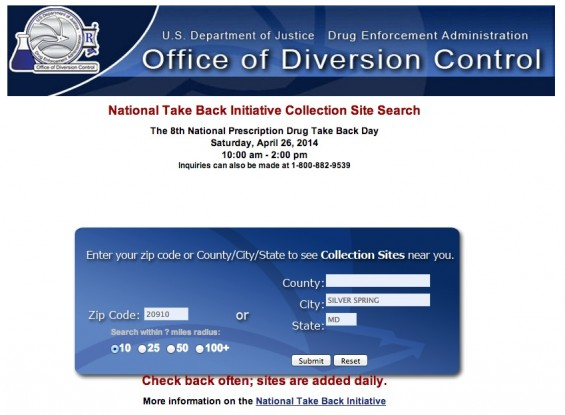 DEA National Drug Take Back Day Local Collection Center Search
