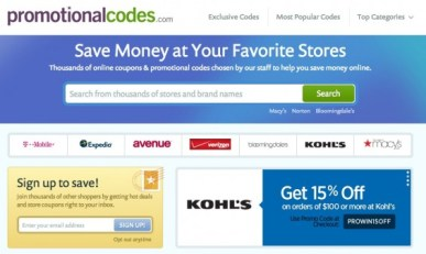 PromotionalCodes.com Home Page