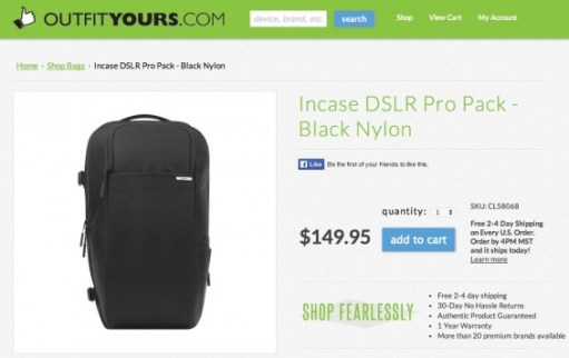 Ordering the Incase DSLR ProPack from OutfitYours.com