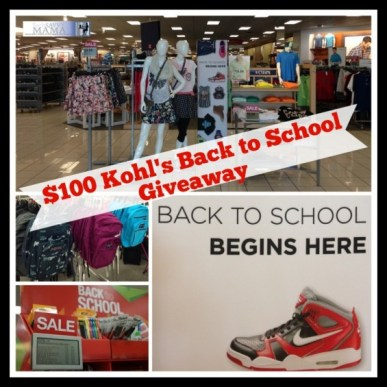 Kohl's Back to School $100 Gift Card Giveaway