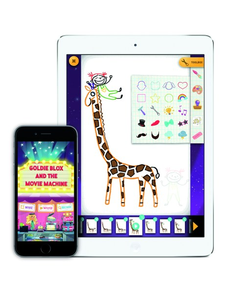 GoldieBlox and the Movie Machine app on the iPhone6 and iPadAir