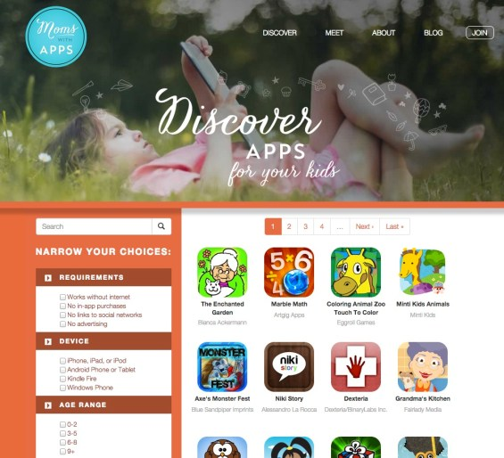 Moms with Apps: Discover Apps page