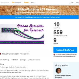 Ribbon Barrettes for Research (benefitting the Cystic Fibrosis Foundation) is Raising $1000 through Pear! Learn how your group can get corporate sponsorship for free too!