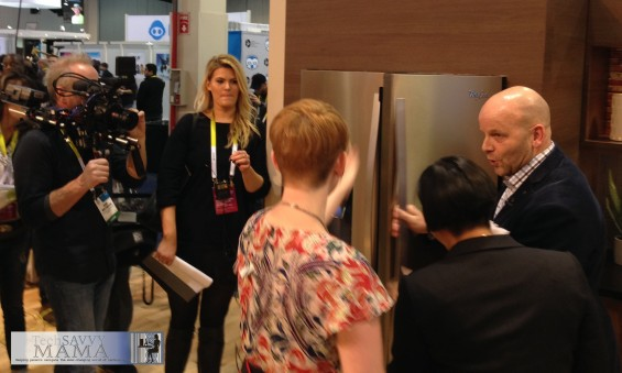 Meagan Francis, Leticia Barr, and Jim Higley with Whirlpool at CES 2015 sharing their thoughts on the Sunset Bronze Kitchen Suite