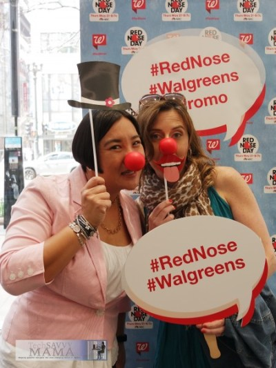 Leticia and Whitney Wingerd wear Red Noses at flagship Walgreens in Chicago