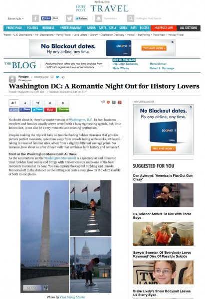 Washington DC: A Romantic Night Out for History Lovers by Leticia Barr on Huffington Post