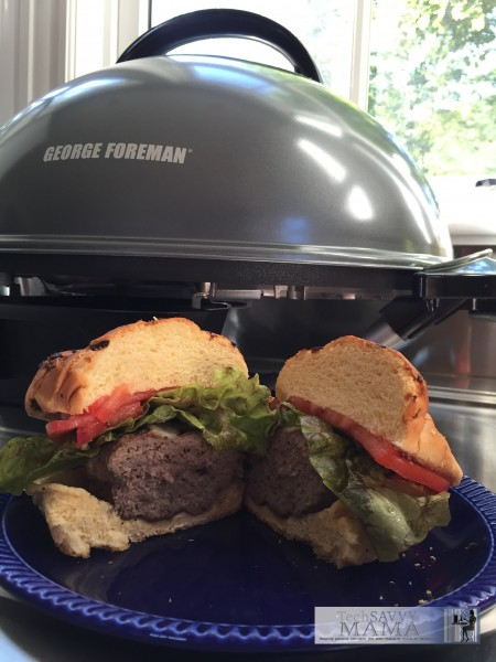 Burgers Cooked on the George Foreman 15 Serving Indoor/Outdoor Electric Grill and Leticia's experience using her first Foreman Grill on TechSavvyMama.com