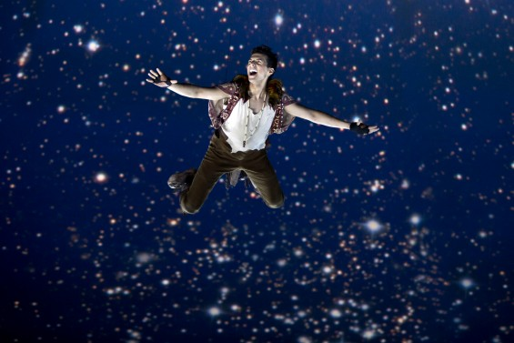Dan Rosales takes flight as Peter Pan in PETER PAN at the Threesixty Theatre now through August 16. Photo credit: Jeremy Daniel