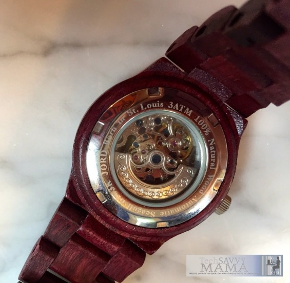 Jord Cora Series Wood Watch. The crystal back allows the movement of the gears to be seen. Review on TechSavvyMama.com