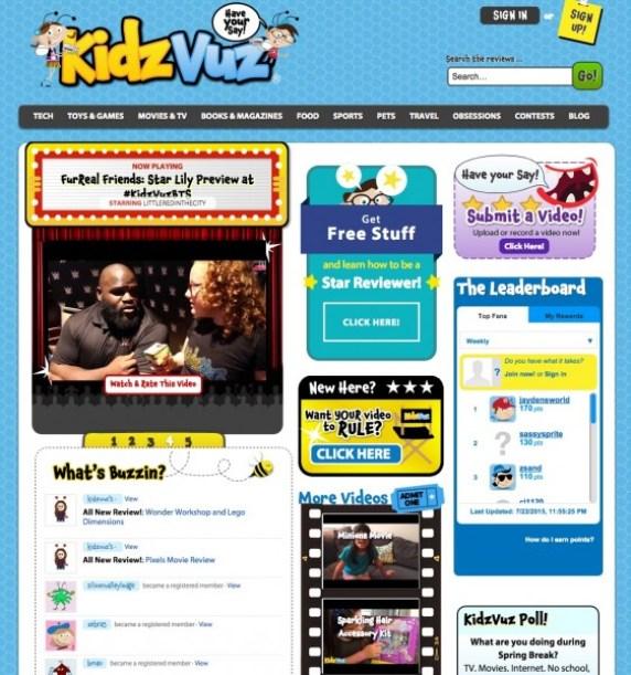 Home page of KidzVuz.com, a safe video content creation site for kids 6 and up. Details on TechSavvyMama.com