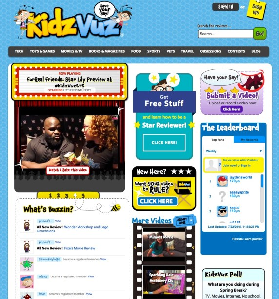Home page of KidzVuz.com, a safe video content creation site for kids 6 and up. Details on TechSavvyMama.com