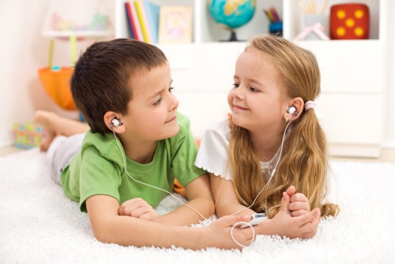 Kids Listening to Music Earbuds