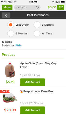 Peapod Moble App Past Orders Screen