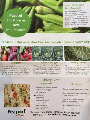 Peapod Local Farm Box. Fresh and local produce ordered from area farms comes with a guide that lists some of the items in the box and recipe suggestions
