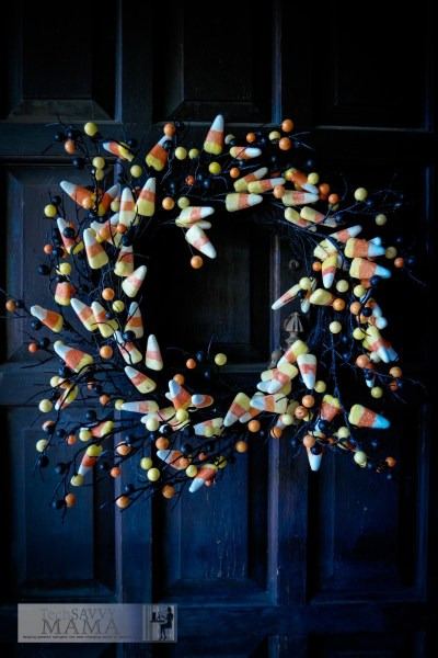 Halloween candy corn wreath on a door © 2015, Leticia Barr All Rights Reserved