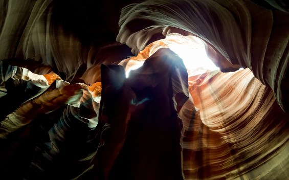 Colorful reflections of light and dramatic shadows on the Upper Antelope Slot Canyon walls. © 2015, Leticia Barr All Rights Reserved