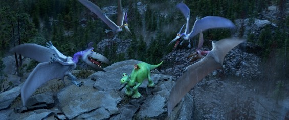 THE GOOD DINOSAUR – Pictured: Pterodactyls, Arlo and Spot. ©2015 Disney•Pixar. All Rights Reserved.