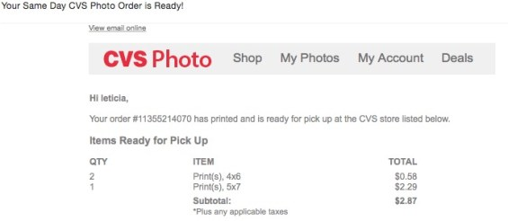 Printing Photos for Same Day Pickup Using the CVS Pharmacy App. CVS sends you an email notification when your photos are ready. Details on TechSavvyMama.com