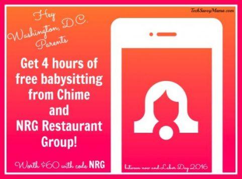 Washington, D.C. Chime NRG Restaurant Group Free Babysitting Offer details on TechSavvyMama.com