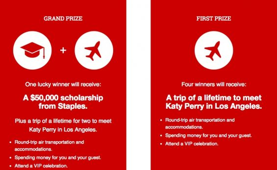 Win a $50,000 Scholarship from Staples & Chance to Meet Katy Perry. Details on TechSavvyMama.com