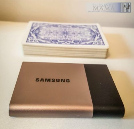 Samsung Portable SSD T3 is smaller than a deck of cards. Information about portable SSDs and why you need them on TechSavvyMama.com
