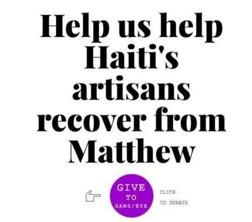 HAND/EYE Donation Link Benefitting Artisan Business Network, Haiti #HurricaneMatthew