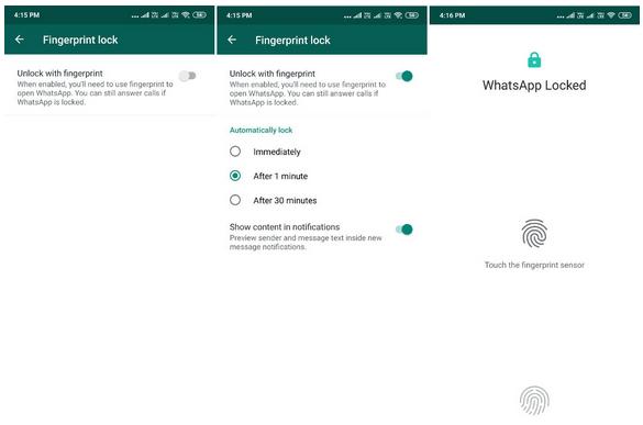 WhatsApp Fingerprint Authentication