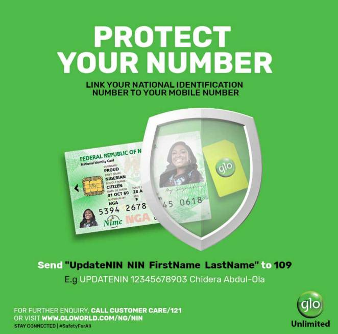 how to link glo number with nin