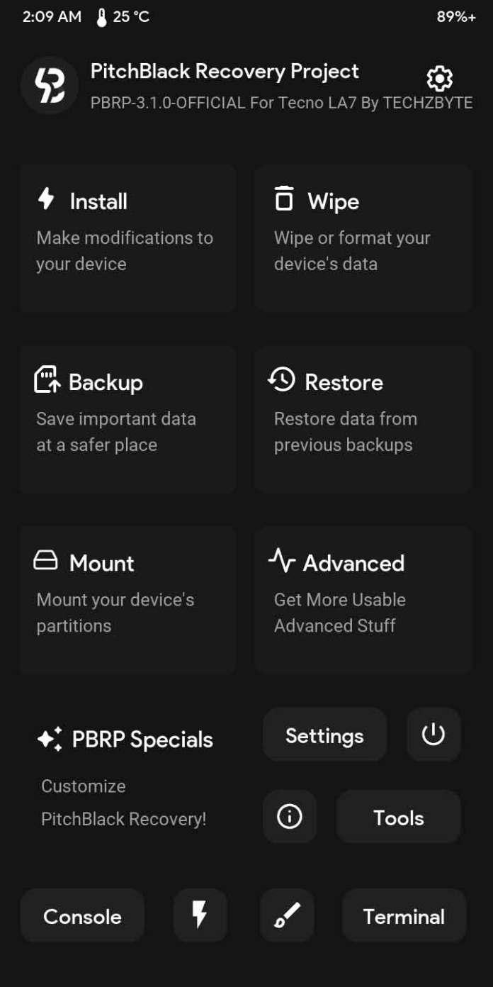 PitchBlack 3.1.0 TWRP For Tecno Pouvoir 2 LA7