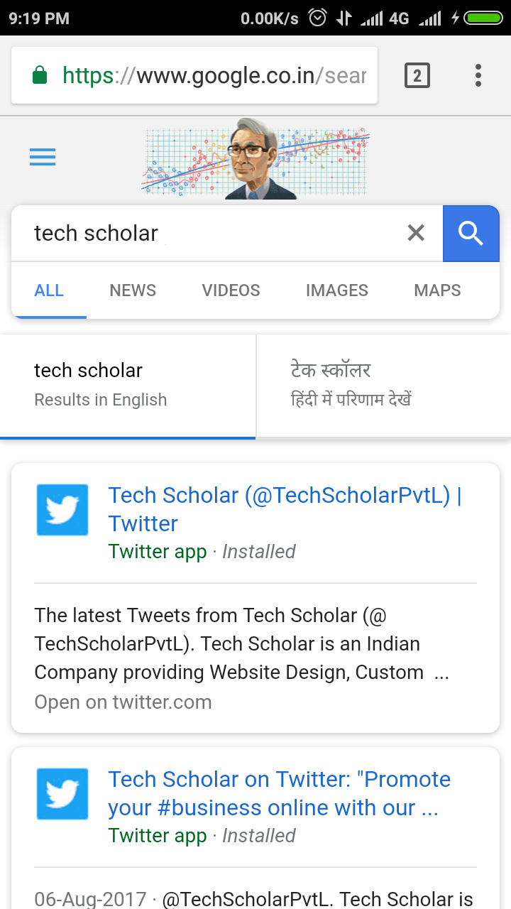 Tech Scholar Tweets in New Google Search UI