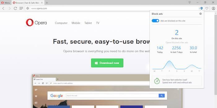 Opera built in adblocker