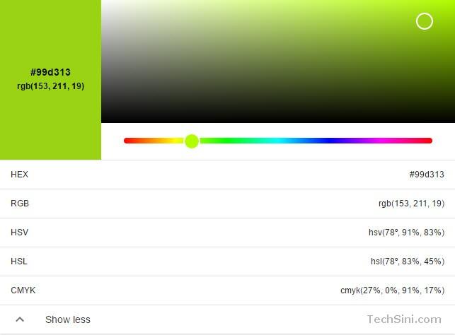 Google RGB to HEX converter tool