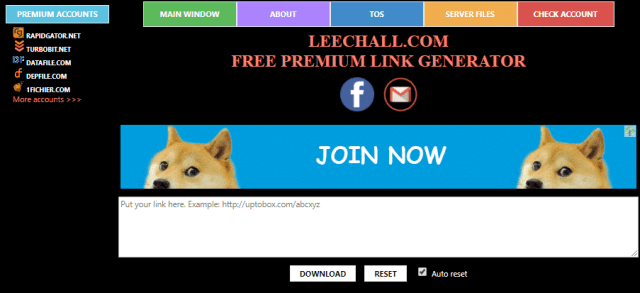 Leechall is another free premium link generator